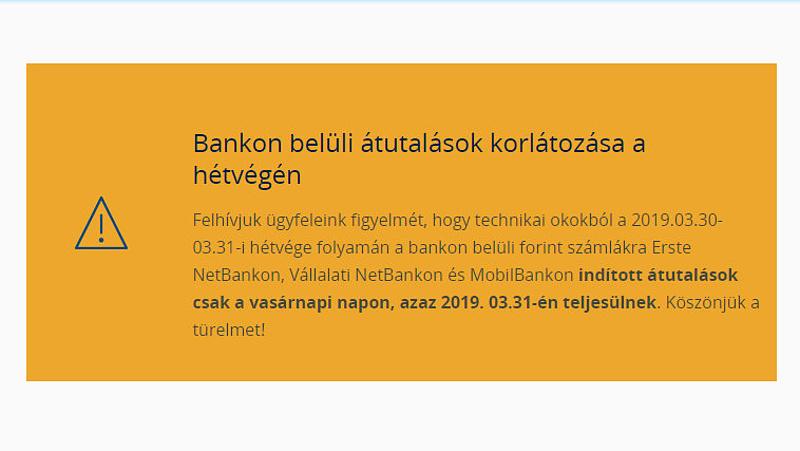 Erste-ügyfelek, figyelem! Korlátozzák a bankon belüli utalásokat