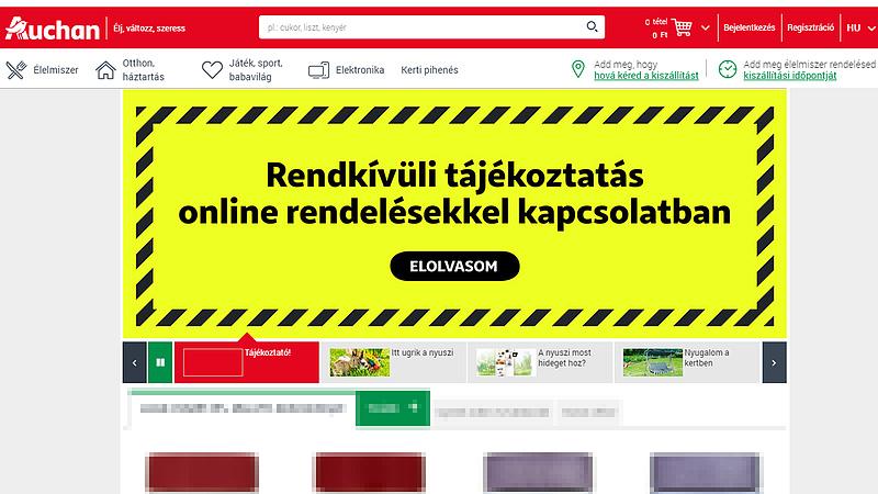 Újabb rendkívüli tájékoztatás a magyar Auchantól - átmenetileg nem fogad több megrendelést az online bolt