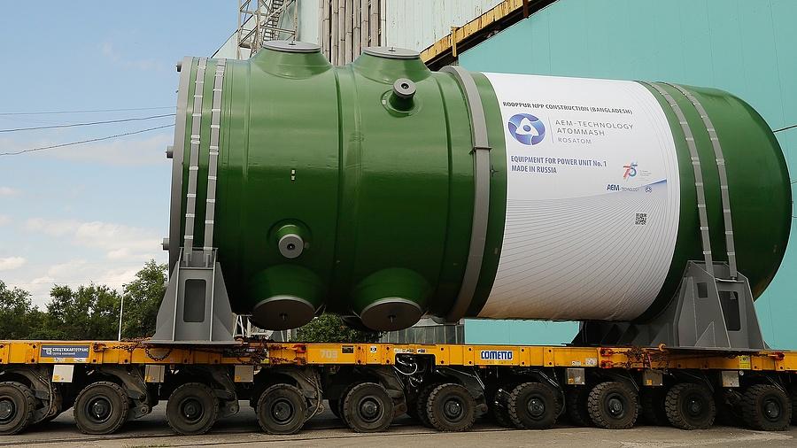 Megérkezett a Rosatom nyomástartó edénye Rooppurba, az első bangladesi atomerőmű első blokkjához (2020. október)