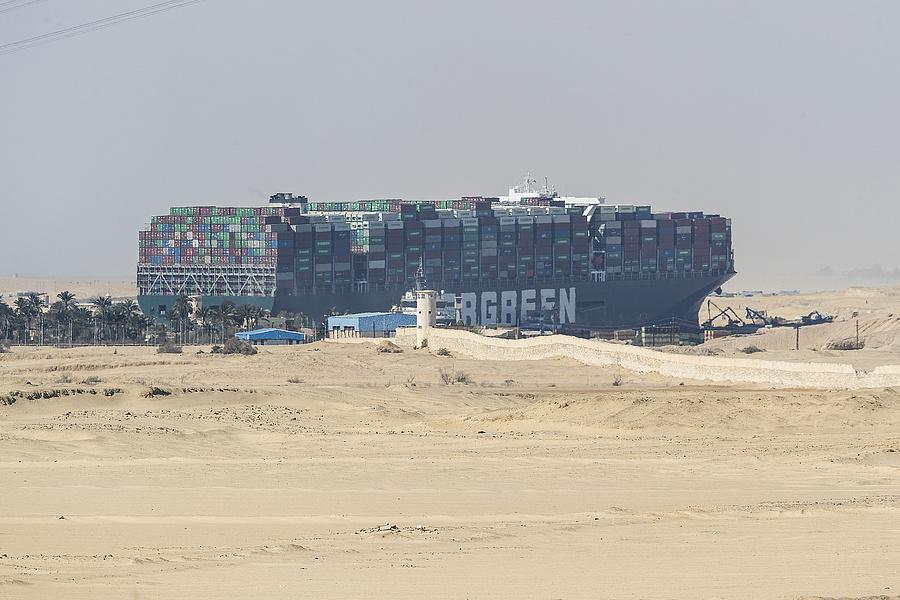 A Szuezi-csatornát elzáró Ever Given.