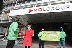 Tüntettek a Mol-székház előtt: ne egy nemzeti parkban fúrjanak!