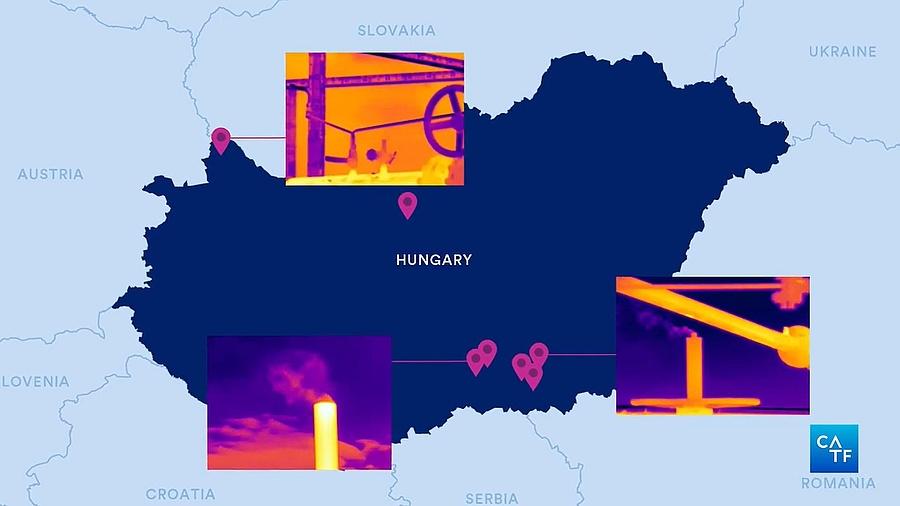 A feltárt metánszennyezések Magyarországon (forrás: CATF)