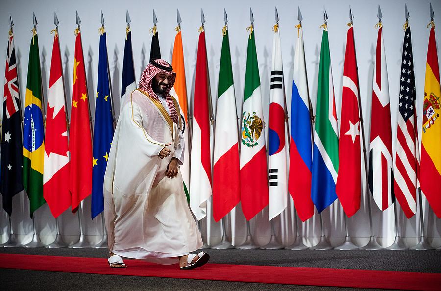 Mohammad bin Salman Al Saud, Szaúd-Arábia koronahercege megérkezik a G20-csúcstalálkozóra (2019, Osaka)