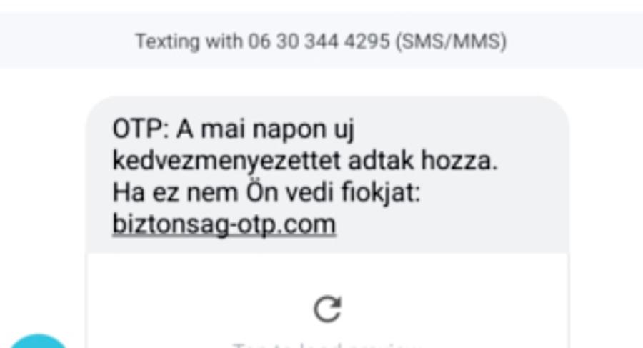 Így néz ki a csalók sms-üzenete