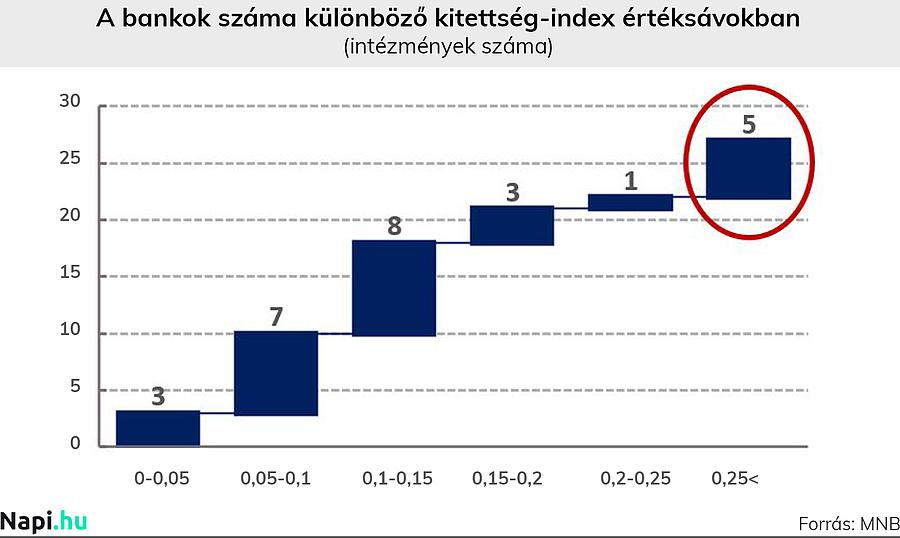 Megjegyzés: A kitettség-index érték százalékosan is értelmezhető, tehát a 0,25 ugyanazt jelenti, mint a 25 százalék