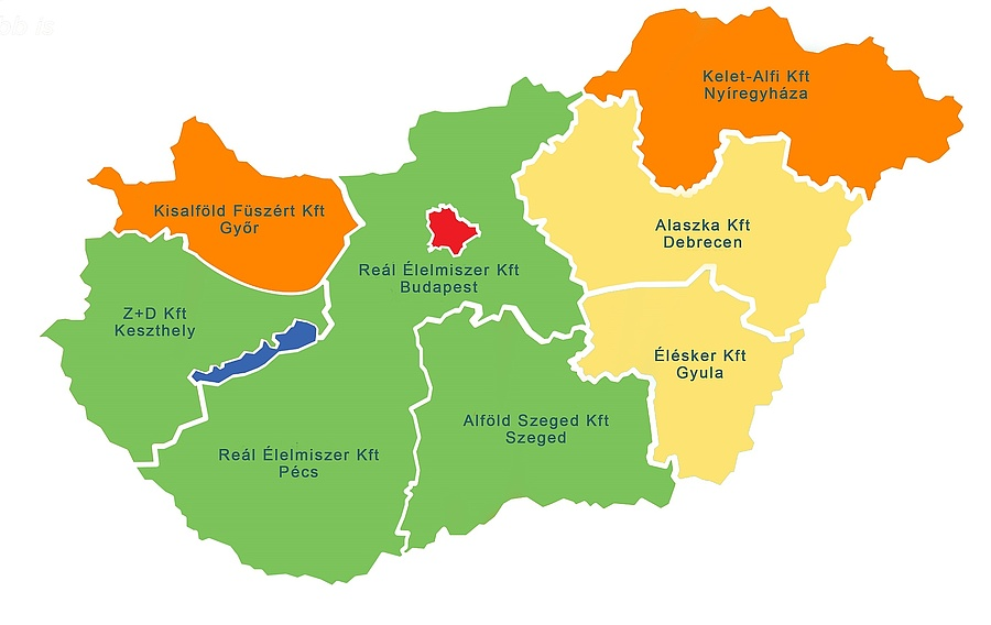 A Reál cégcsoport ellátási térképe.